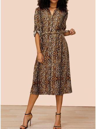 Leopard Långa ärmar A-linjeformad Skjorta Fritids Midi Klänningar
