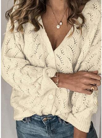 polyester Långa ärmar Solid färg Cardigans