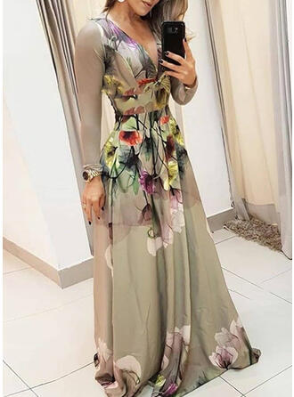Print/Floral Long Sleeves A-line Skater Party/Elegant Maxi Dresses