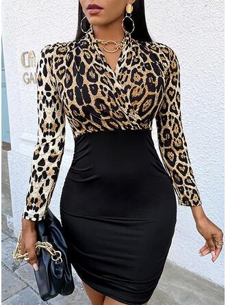 Print/Leopard Long Sleeves Bodycon Above Knee Elegant Dresses