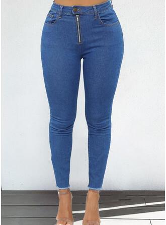 Solid Plus Size Elegant Denim & Jeans