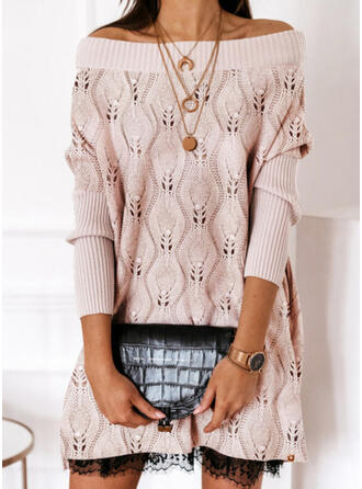 Solid Lace Beaded Round Neck Casual Long Sweater Dress