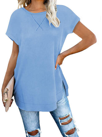 Solid Round Neck Short Sleeves Casual Basic T-shirts