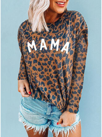 Leopard Print Letter Round Neck Long Sleeves T-shirts