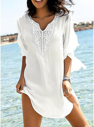 Solid Color V-Neck Fresh Cover-ups Swimsuits