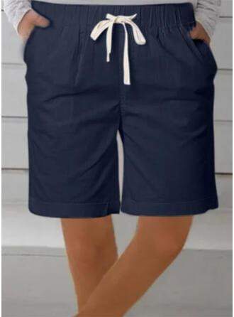 Solid Extra stor storlek Dragsko Ovanför knäet Fritids Sportig Shorts