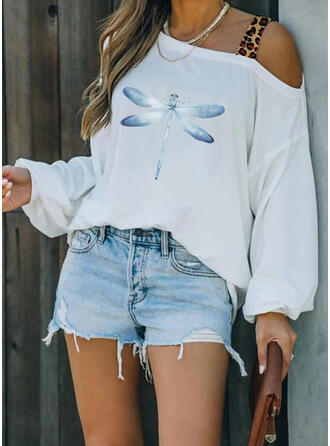 Leopard Print Animal One Shoulder Long Sleeves T-shirts