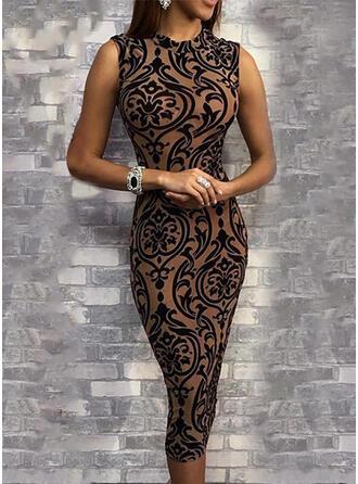 Print Sleeveless Bodycon Knee Length Elegant Dresses
