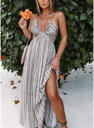 Striped/Backless Sleeveless A-line Skater Sexy/Vacation Maxi Dresses