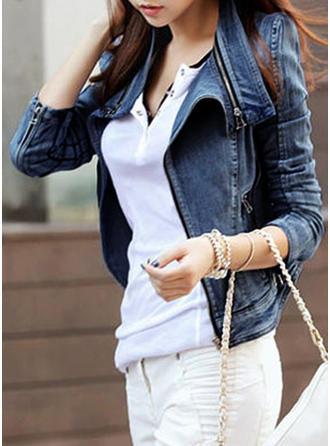 Jeans Långa ärmar Solid färg Denim Kappor