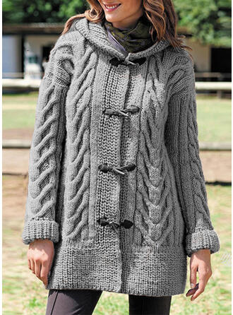 Solid Kabelsticka Hooded Casual Cardigan