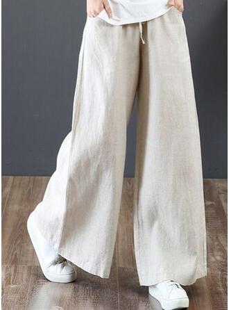 fickor Shirred Extra stor storlek Lång Boho Fritids Elegant Byxor