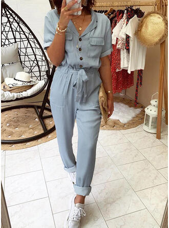 Solid Shirt collar Short Sleeves Casual Jumpsuit