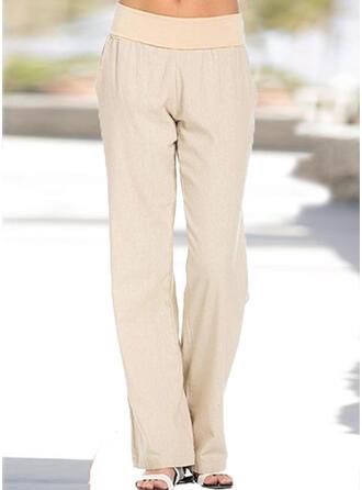 Pockets Shirred Plus Size Long Boho Casual Elegant Plain Pants