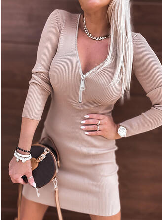 Solid Knit Long Sleeves Bodycon Above Knee Elegant Sweater Dresses