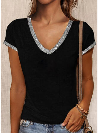 Solid Sequins V-Neck Short Sleeves T-shirts