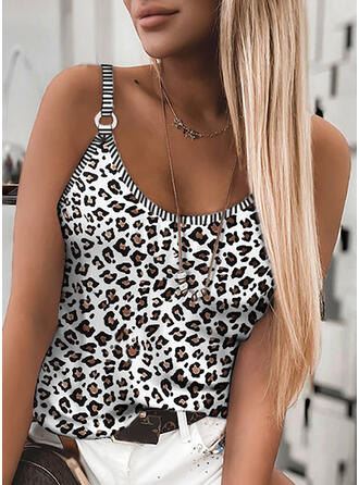 Leopard Strap Sleeveless Tank Tops