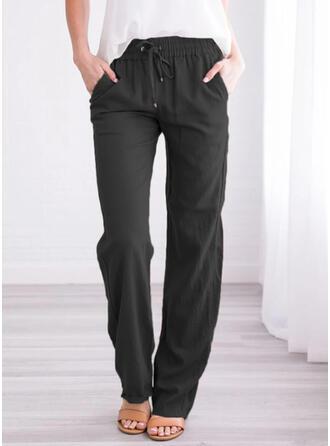 Pockets Shirred Long Long Sporty Pants