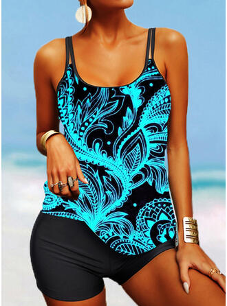 Strap U-Neck Plus Size Casual Tankinis Swimsuits