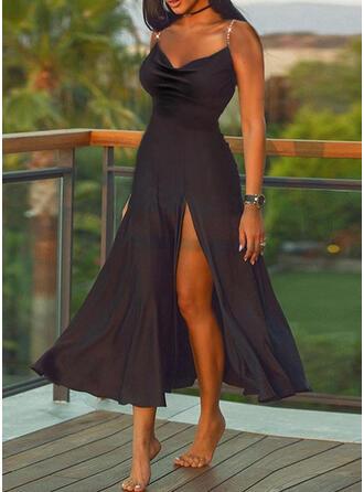 Solid Sleeveless A-line Slip/Skater Little Black/Casual Midi Dresses