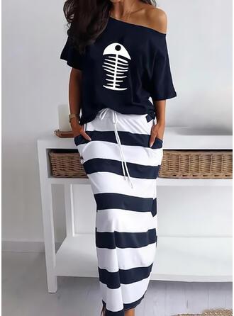 Striped/Animal Print Short Sleeves Sheath Casual Midi Dresses