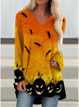 Halloween Animal Print V-Neck Long Sleeves Casual Blouses