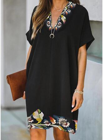 Print/Floral Short Sleeves Shift Knee Length Elegant Dresses