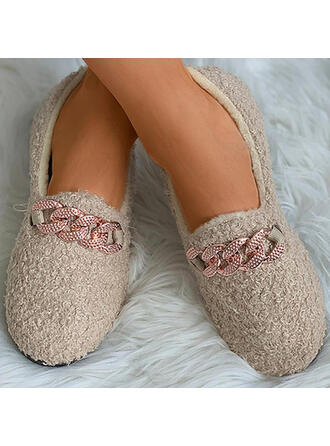 Women's Suede Flat Heel Flats Low Top Slip On With Rhinestone Faux-Fur shoes