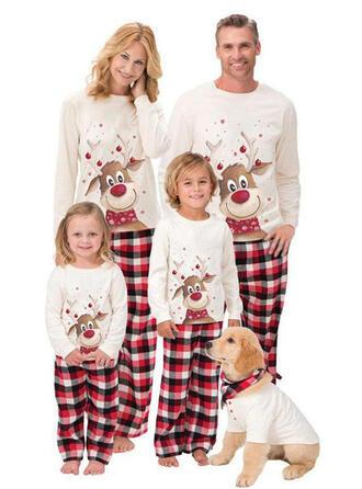 Deer Pläd Tecknad Matchande familj Jul Pyjamas Pyjamas