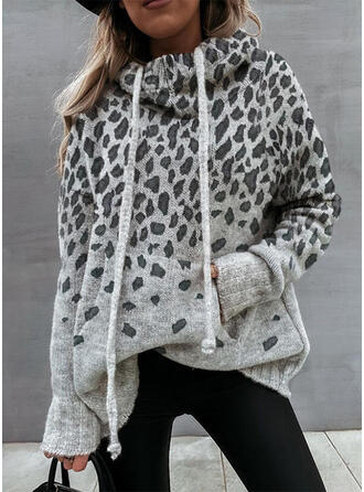 Pocket Leopard Hooded Casual Sweaters