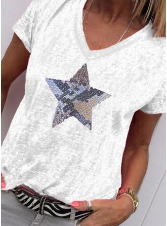 Print V-ringning Korta ärmar Fritids Stickning T-shirts