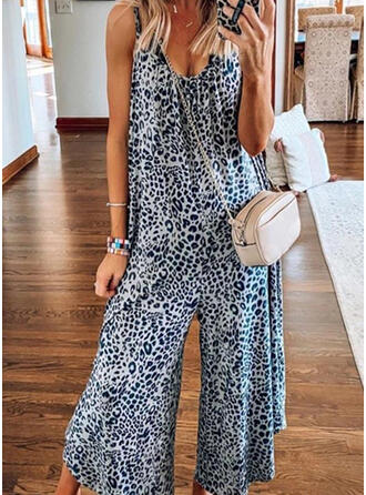 Print Animal Spaghetti Strap Sleeveless Casual Vacation Jumpsuit