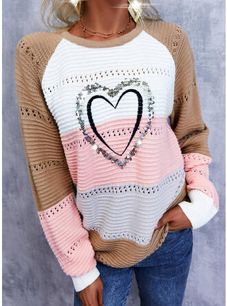 Print Color Block Heart Round Neck Casual Sweaters