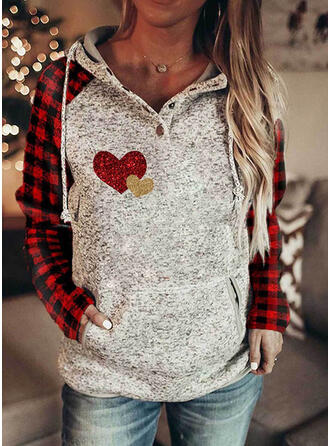 Grid Sequins Heart Pockets Long Sleeves Hoodie