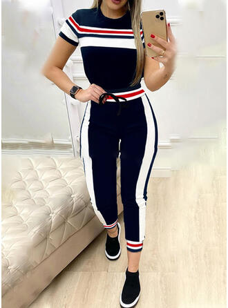 Striped Drawstring Casual Sporty Suits