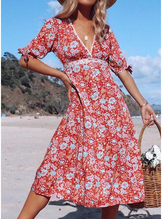 Print/Floral 1/2 Sleeves A-line Skater Casual/Vacation Midi Dresses