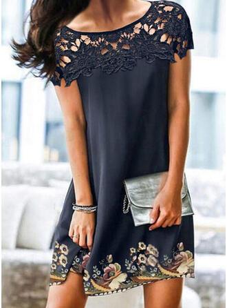 Lace/Print/Floral Short Sleeves Shift Above Knee Elegant Dresses