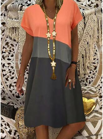 Color Block Short Sleeves Shift Knee Length Casual T-shirt Dresses