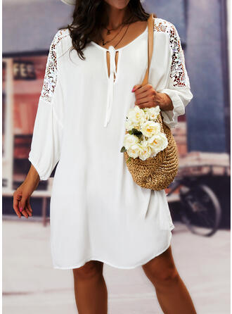 Solid Lace 3/4 Sleeves Shift Knee Length Casual Tunic Dresses