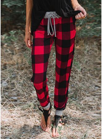 Plaid Drawstring Christmas Casual Sporty Pants