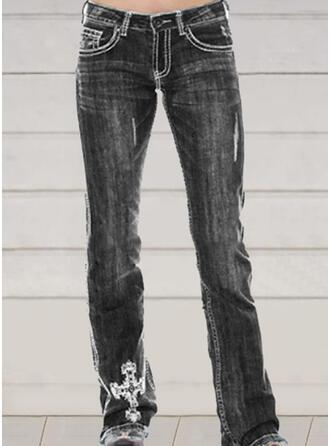 Broderi Shirred Extra stor storlek Fritids Vinobranie Denim & Jeans