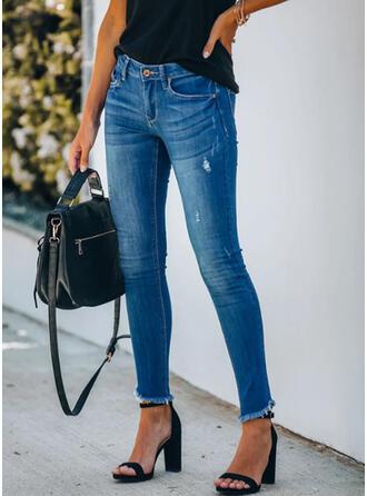 Extra stor storlek Tofs Lång Elegant Sexig Denim & Jeans
