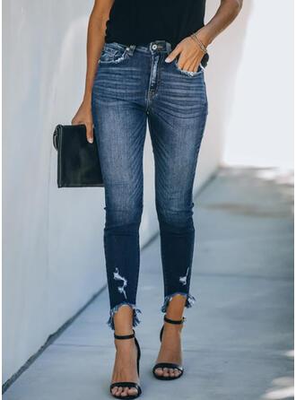 Long Elegant Shirred Pants Denim & Jeans