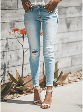 Shirred Plus Size Ripped Elegant Sexy Denim & Jeans