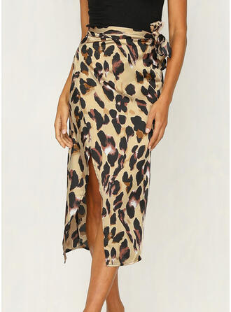 Polyester Animal Print Mid-Calf High-Slit Skirts