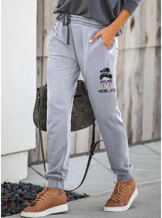 Print Drawstring Casual Sporty Lounge Pants