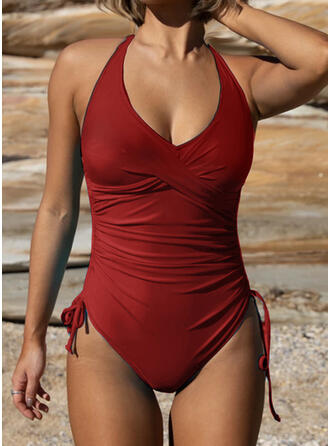 Solid Color String Halter U-Neck Sexy Elegant One-piece Swimsuits