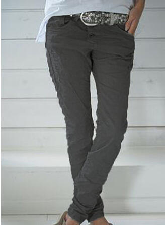Solid Shirred Plus Size Long Casual Plain Pants
