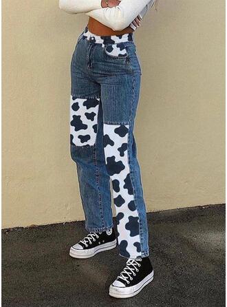 Animal Print Patchwork Casual Vintage Denim & Jeans