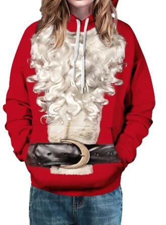 Kvinnor bomullsblandningar Print Jultröja